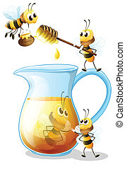 Bees and honey - Illustration of bees and a jug of honey