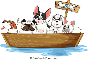Dogs on boat - Illustration of many dogs on a boat