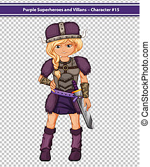 Purple viking - Illustration of a female viking in purple...