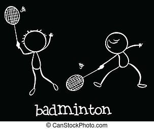 Badminton - Illustration of two men playing badminton