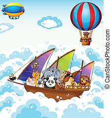 Animals on boat - Illustration of many animals on a boat