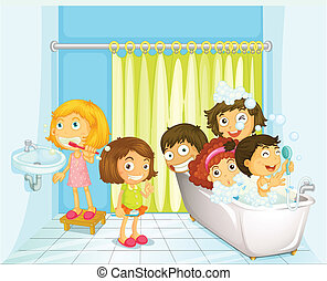 Children in bathroom