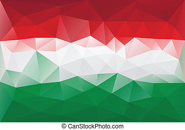 Hungarian flag - triangular polygonal pattern