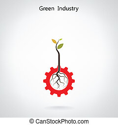 Green industry concept. Small plant and gear symbol, business and green idea