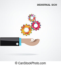 Geometric gears with businessman hand on background, industrial sign, business concept