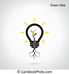 Tree of green idea shoot grow in a light bulb - Green and...