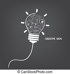 Creative light bulb handwriting style with business idea...