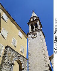 clock tower in Budva Montenegro