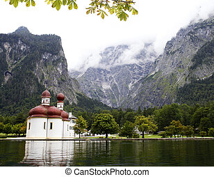 autumn in Alps - autumn lake konigsee in Alps and St...