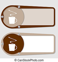 set of two boxes for any text with cup of coffee