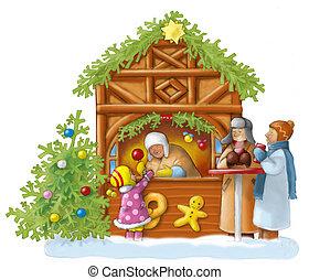 Weihnachtsmarkt - Leute auf dem Weihnachtsmarkt, Kind kauft...