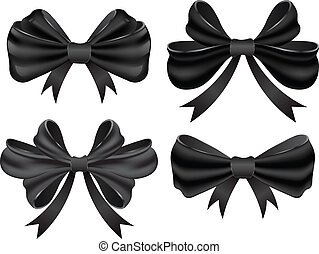 Vector black bow collection.