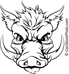 Boar sports mascot head - A mean looking boar animal...