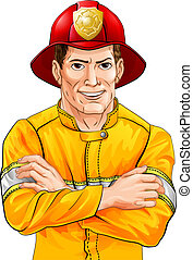 Happy fireman - An illustration of a happy handsome...