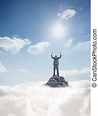 Composite image of happy businessman cheering - Happy...