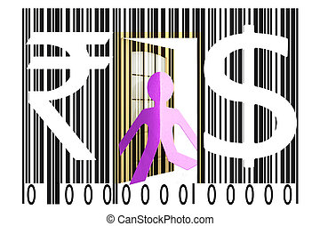 Paperman coming out of a bar code with Dollar and Rupee...