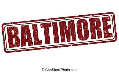 Baltimore stamp - Baltimore grunge rubber stamp on white...