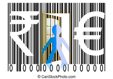 Paperman coming out of a bar code with Euro and Rupee Signs