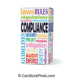 compliance word on product box with safety rules