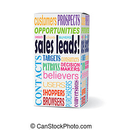 sales leads words on product box with related phrases