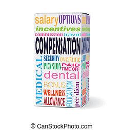 compensação, palavra, produto, caixa