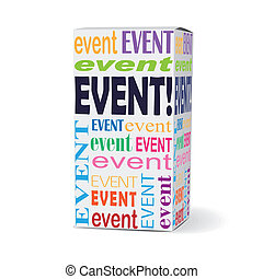 event word on product box with related phrases