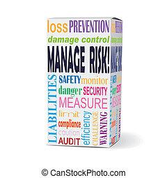 administre, risco, palavras, produto, caixa