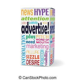 advertise word on product box