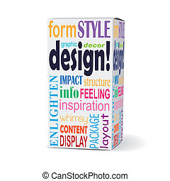 design word on product box