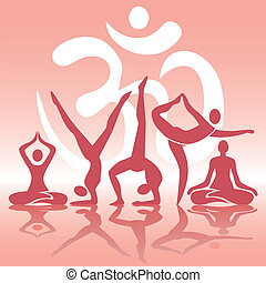 Yoga positions silhouettes on pink - Human silhouettes with...