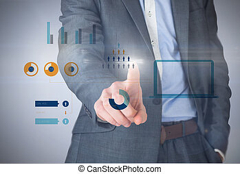 Composite image of businessman in grey suit pointing against...