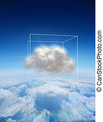 Composite image of cloud floating in a box - Cloud floating...
