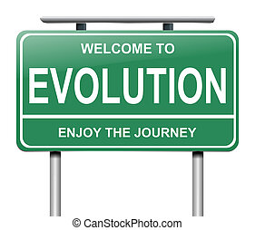 Evolution concept - Illustration depicting a sign with an...