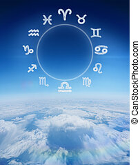Composite image of zodiac chart - Zodiac chart against blue...