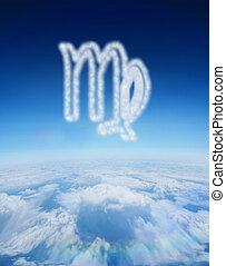 compuesto, imagen, de, nube, en, forma, de, Virgo, estrella,...