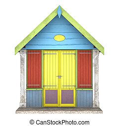 Beach Hut - 3D digital render of a colourful wooden beach...
