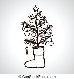 Christmas creative hand drawn fir tree and sock for xmas...
