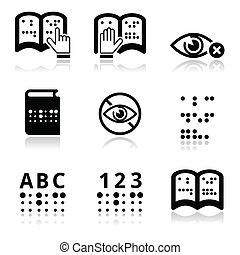 Blindness, Braille writing system i - Vector icons set of...