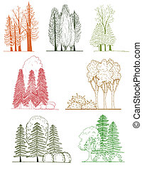 A set of tree silhouettes