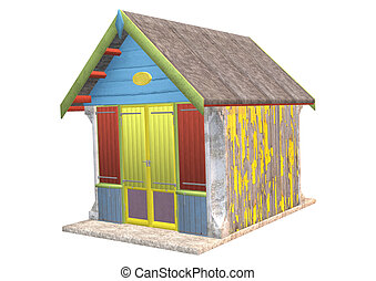 Beach Hut - 3D digital render of a colorful wooden beach hut...