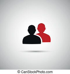 black and red flat vector icon people eps.