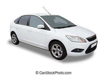 White Car - White Four Door Car Isolated