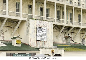 Alcatraz island sign, San Francisco, California - The old...