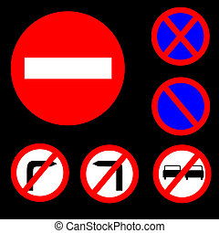 Six Round Prohibitory Red, white and blue Road Signs Set 1 -...