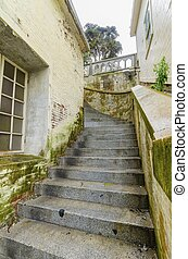 Alcatraz island staircase, San Francisco, California - The...