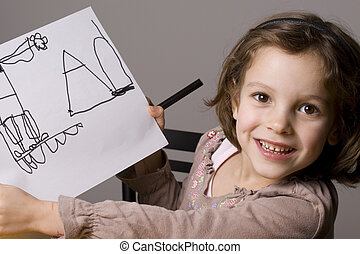Little Girl drawing - Proud Little girl showing her drawing