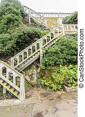 Alcatraz island staircase, San Francisco, California - The...