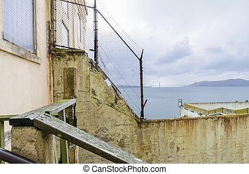 Alcatraz island, San Francisco, California - The fence...