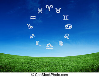 Composite image of zodiac chart - Zodiac chart against green...