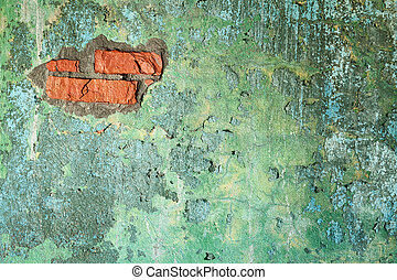 Damaged old brick wall with hole - Damaged painted old brick...